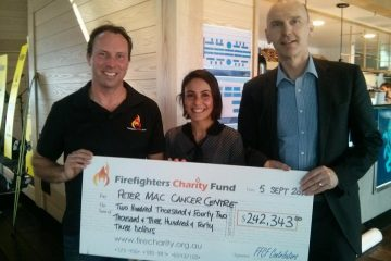 FFCF Board Member LFF Mick Whitty, Peter Mac's Clare Fedele and Carl Young
